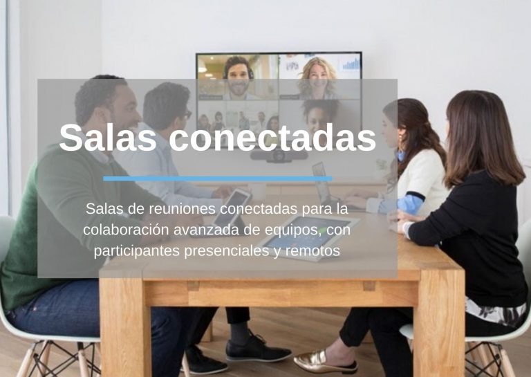 Salas conectadas: Salas de reuniones conectadas para la colaboración avanzada de equipos, con participantes presenciales y remotos