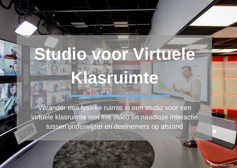 Studio voor virtuele klasruimte: Verander een fysieke ruimte in een studio voor een virtuele klasruimte met live video en naadloze interactie tussen onderwijzer en deelnemers op afstand