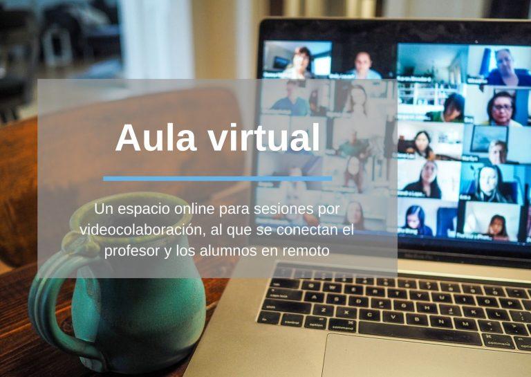 Aula virtual: Un espacio online para sesiones por videocolaboración, al que se conectan el prefoesor y los alumnos en remoto